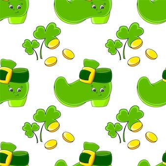 Color seamless pattern. leprechaun boot. st. patrick 's day.