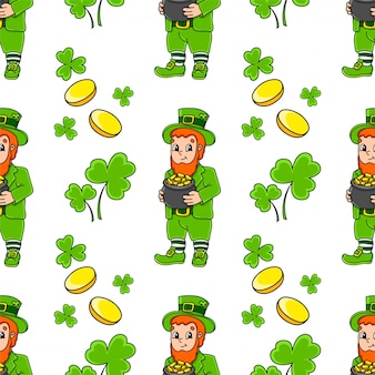 Color seamless pattern. leprechaun with a pot of gold. st. patrick 's day. cartoon style.