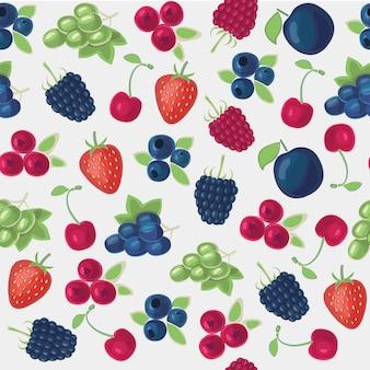 さまざまな種類のベリーのイラストの色のシームレスなパターン