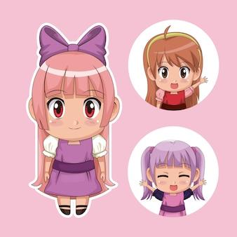 Набор цветов милые девушки подростка аниме в платье с несколькими выражениями лица