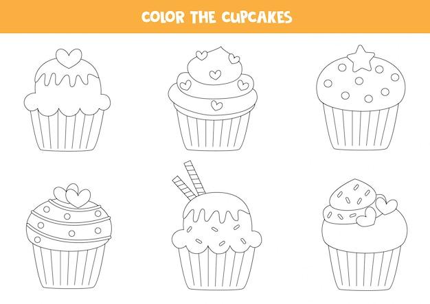귀여운 컵 케이크의 색상 세트입니다. 아이들을위한 색칠 페이지.
