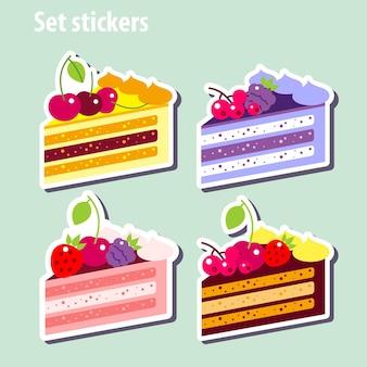 Цветной набор кусок торта. установите наклейки.