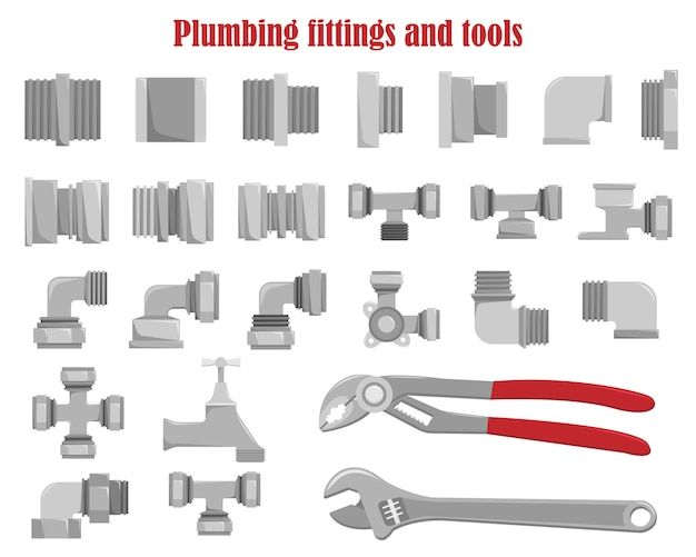 Color  set of plumbing fittings and tools.