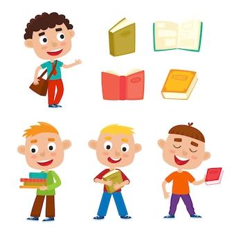 색상 설정 예쁜 소년 책과 가방, 어린이 책, 스티커, 포스터에 사용되는 흰색 바탕에 행복 한 아이와 함께 서있다.