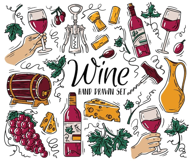Color set with wine and cheese in doodle sketch style