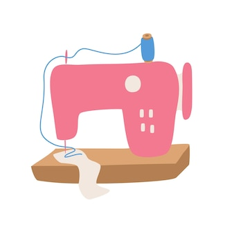 Color sewing machine equipment for tailors and crafters vector illustration