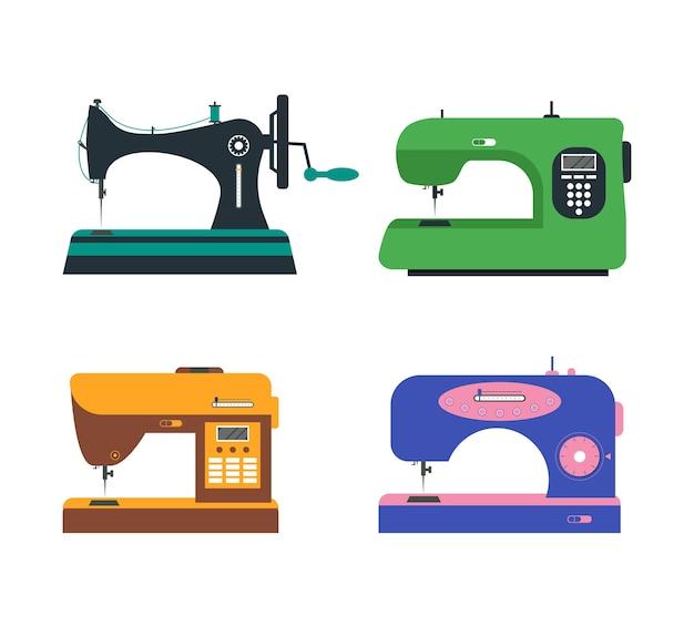 Набор цветных швейных машин. ретро и модерн.