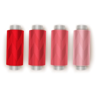흰색 배경에 색 바느질 스레드, 빨간색에서 밝은 빨간색, 상위 뷰로 그라데이션 전환. 삽화