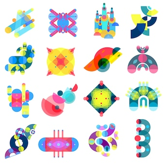Color shapes icons collection