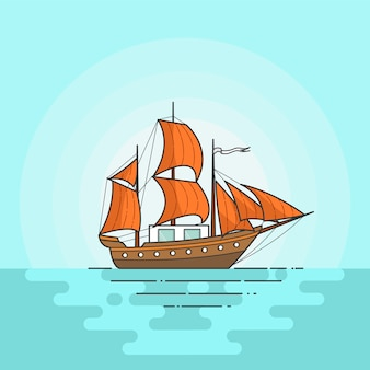 Color ship with orange sails in sea isolated on white background. traveling banner with sailboat. flat line art. vector illustration. concept for trip, tourism, travel agency, hotels, vacation card.
