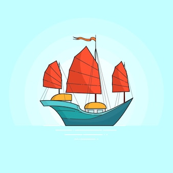 Color ship with red sails in sea isolated on white background. traveling banner with sailboat. flat line art. vector illustration. concept for trip, tourism, travel agency, hotels, vacation card.