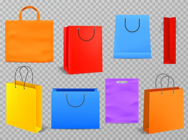 Color shopping bags.