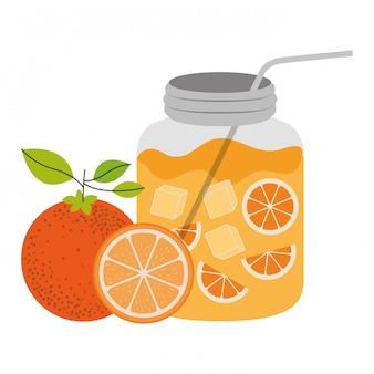 상쾌한 오렌지 음료 벡터 일러스트와 함께 병의 컬러 실루엣
