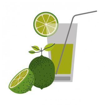 레몬 슬라이스와 레몬 과일 벡터 일러스트와 함께 레모네이드 음료의 컬러 실루엣