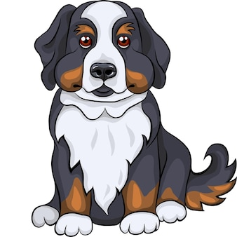 Color sketch of a close-up dog breed bernese mountain dog puppy sitting