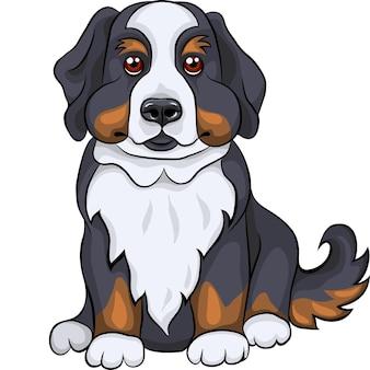 Цветной рисунок крупным планом собака породы бернский зенненхунд щенок сидит