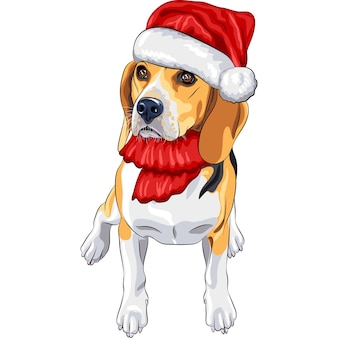 Цветной эскиз собаки породы бигль в красной шапке деда мороза