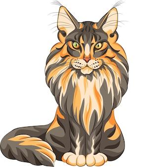 カラースケッチセリオス黒と赤のふわふわメインクーンアメリカンロングヘア猫が座っています