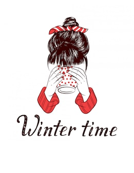 Color sketch style illustration of girl drinking hot coffee. winter time hand drawing lettering isolated. a girl with a bunch on her head holding a cup in her hands