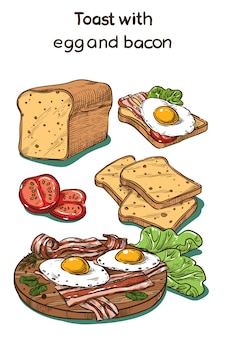 Color sketch toast with egg and bacon