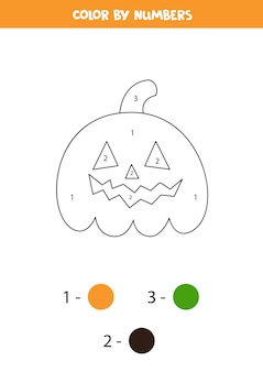 Color smiling halloween jack o lantern pumpkin by numbers.