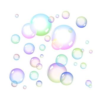 Набор цветных мыльных пузырей с прозрачностью