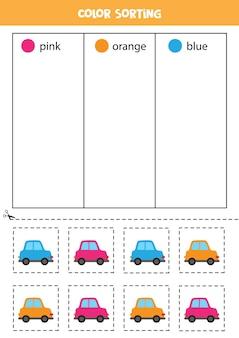 Color sorting for kids. sort cars by colors. educational worksheet.
