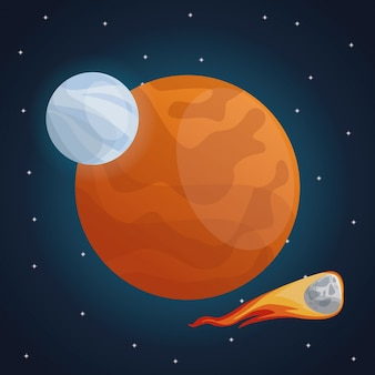 Color space landscape background with meteor and view mars planet