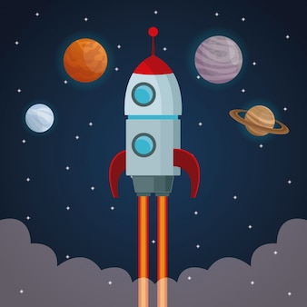 Color space landscape background with rocket taking off and view cosmos