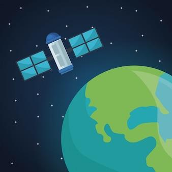 Цветовое пространство пейзаж фон со спутником с видом на земную планету