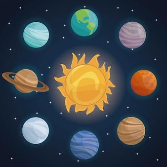 태양계와 색 공간 풍경 배경