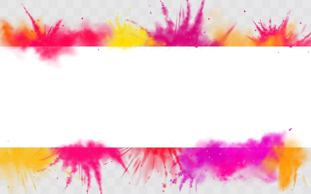 Color splash holi banner powder paints round dye border