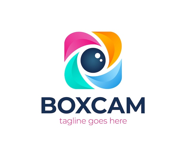Цветной квадратный логотип затвора камеры. логотип фотоаппарата коробки