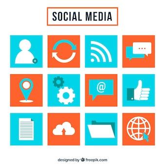 소셜 네트워크의 색상 사각형 아이콘 모음