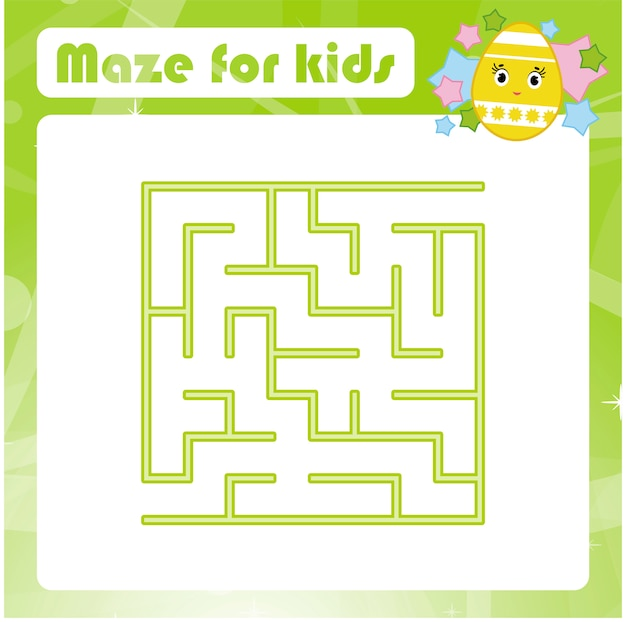 Color square labyrinth. kids worksheets. activity page. game puzzle for children.