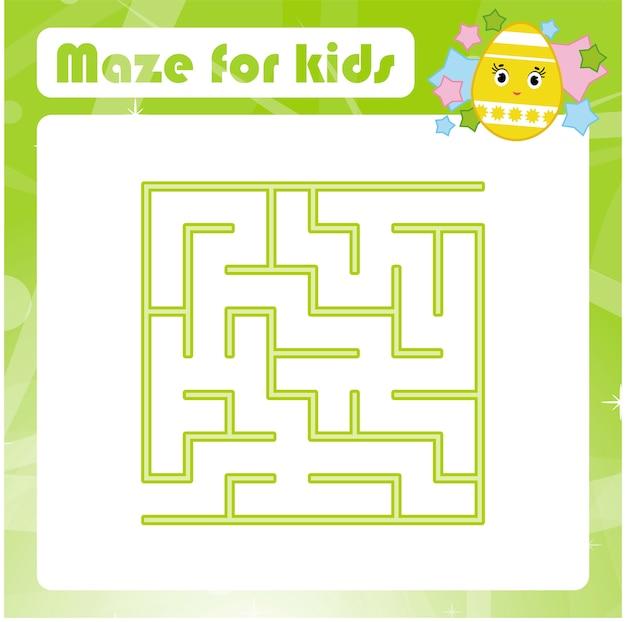 Цветной квадратный лабиринт. детские рабочие листы. страница активности. игра-головоломка для детей.