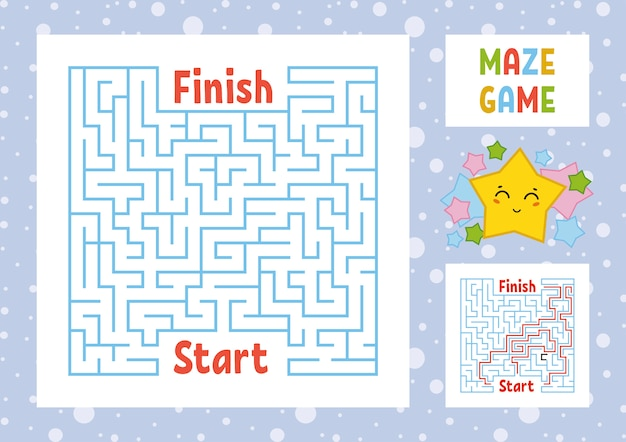 Color square maze. find the right path from start to finish. kids worksheets.
