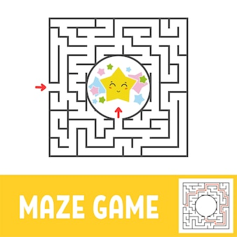 Color square maze worksheet for kids