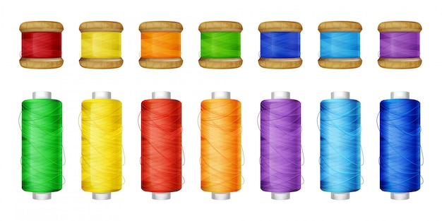 Color thread spools set illustration of sewing tools.