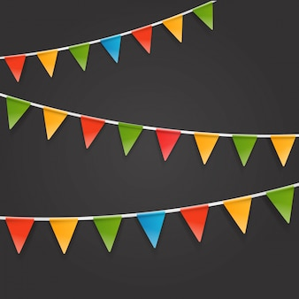 Color triangle flags garland on dark