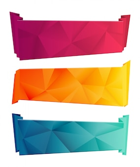 Color triangular ribbon and banner set