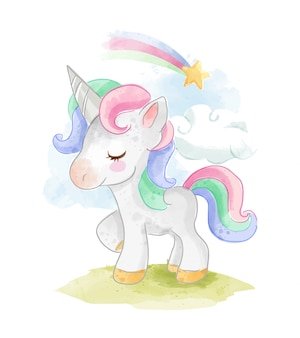 Color unicorn with rainbow illustration