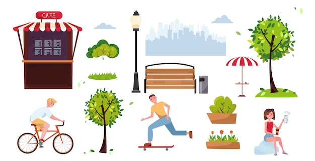 Color urban park elements set for public place with sports people, cyclist, skater, street cafe. objects of city park summer scenery. vector flat cartoon illustration. urban outdoor decor elements.