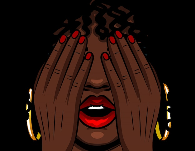 Color vector illustration african american girl covers her face with her hands. the girl experiences emotions of stress, fear, pain, fatigue. girl with red open lips and eyes closed
