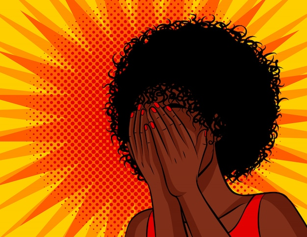 Color vector illustration in comic pop art style. the dark skinned woman covered her face with her hands