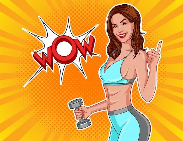 Цветные векторные иллюстрации в стиле комиксов поп-арт. девушка с гантелями