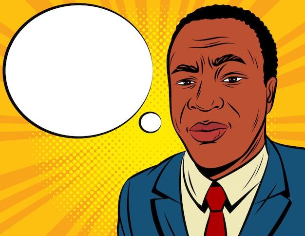 ポップなアートスタイルの色ベクトルイラスト。黄色の背景に紺のスーツを着たアフリカ系アメリカ人。吹き出しと関係のある男性の顔。