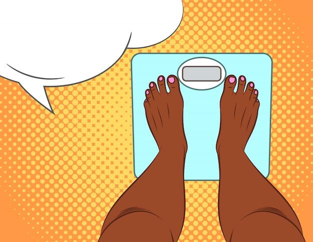 Цветные векторные иллюстрации в стиле поп-арт. девушка стоит на весах. вид сверху женские ноги.