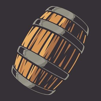 Цветная векторная иллюстрация бочки пива на темноте