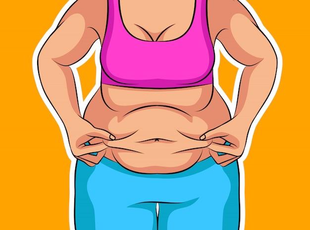 減量前に少女の色ベクトルイラスト。太った女性の腹。不健康な食事とライフスタイルに関するポスター。肥満の女性像